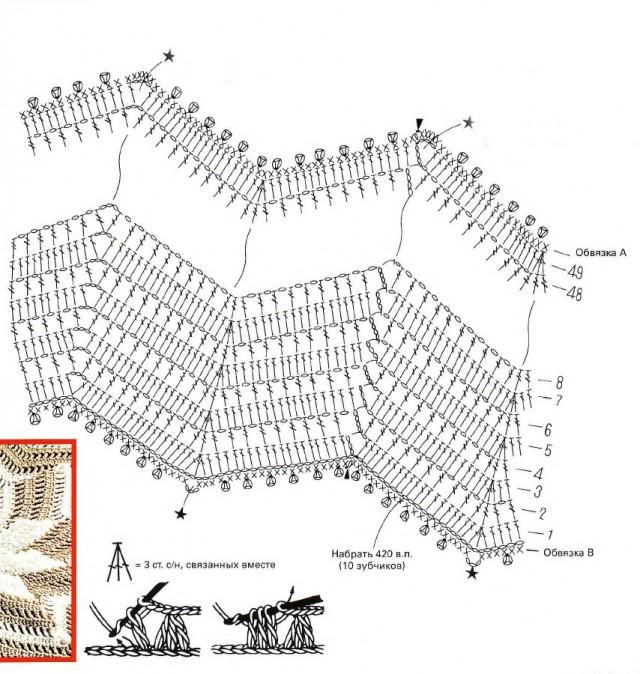 Вязание крючком со схемами и описанием подушки 341