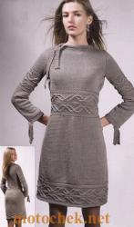 Женское вязаное зимнее платье расклешенное